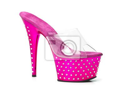 a8e7b59f65c Růžové vysoké podpatky boty s platformou a kamínky fototapeta ...