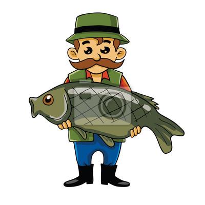 Rybar Prenaseni Big Fish Kreslene Vektorove Fototapeta Fototapety