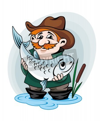 Rybar Ulovek Velke Ryby Vektorove Ilustrace V Kresleny Styl