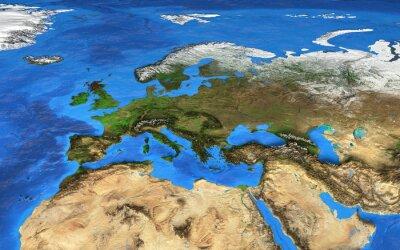 Fototapeta S vysokým rozlišením mapa světa zaměřuje na Evropu