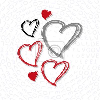 Sablona Stastneho Valentyna Rucne Kreslene Srdce Romanticke