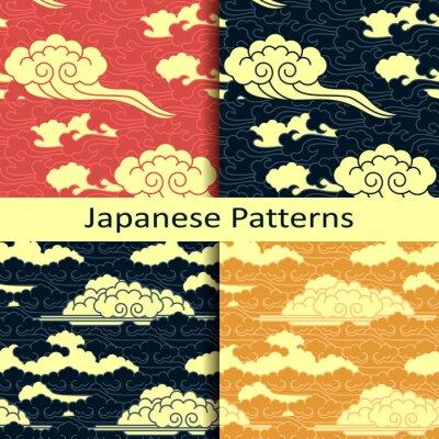 Fototapeta Sada čtyř japonských tradičních vzorů oblačných