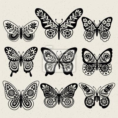 Sada Ilustrace Ilustrace S Motyly Cerny A Bily Volna Kresba