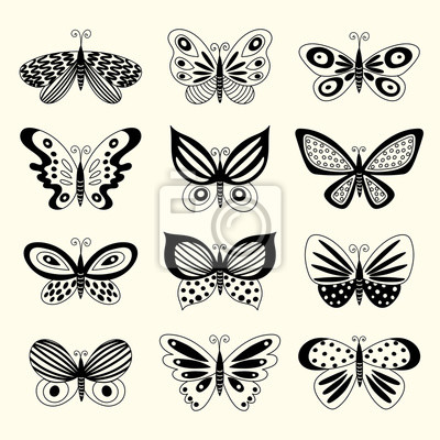 Sada Ilustrace Ilustrace S Motyly Volna Kresba Fototapeta