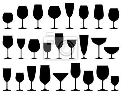 Fototapeta Sada izolovaných vína a dezertu brýle