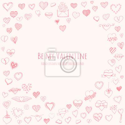 Sada Kreslene Rucne Stastny Valentyna Symboly A Ikony Srdce