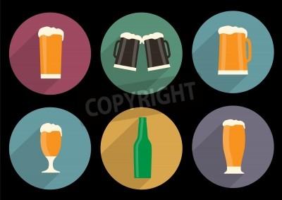 Fototapeta sada plochých pivních ikon s dlouhý stín
