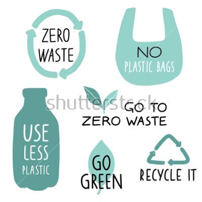 Fototapeta Sada prvků eco ilustrace a ručně psané dopisy. Recyklujte, používejte méně plastů, jděte zeleně. Zero odpad slogan života, typografie. Vektorové ilustrace.