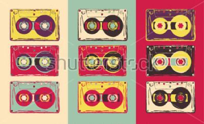 Fototapeta Sada retro audio kazety, pop art stylu. Vektorový obrázek.