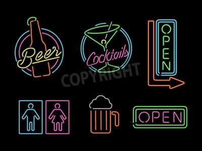 Fototapeta Sada retro styl neonové světlo obrys znamení ikony na liště, pivu, otevřený obchod, koktejl a koupelna symbolem.
