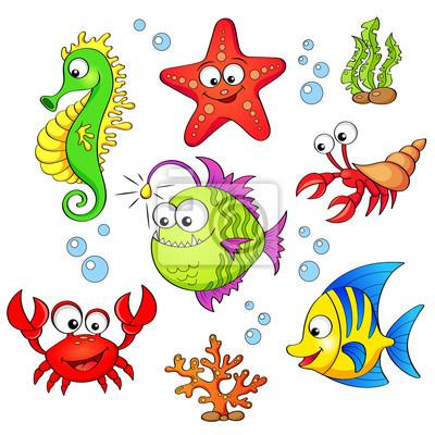 Sada Roztomilych Kreslenych Morskych Zivocichu Na Bilem Pozadi