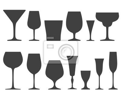 Fototapeta Sada sklenice na víno a skleněných ikon na bílém pozadí