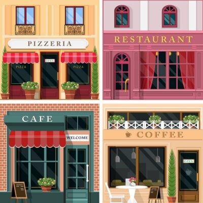 Fototapeta Sada vektorových podrobně plochému designu restaurací a kaváren fasádních ikon. Pohodě grafický design exteriéru pro stravovací služby.