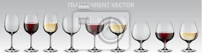 Fototapeta Sada vektorových sklenic na víno. Sada transparentních vektorových sklenic s červeným a bílým vínem