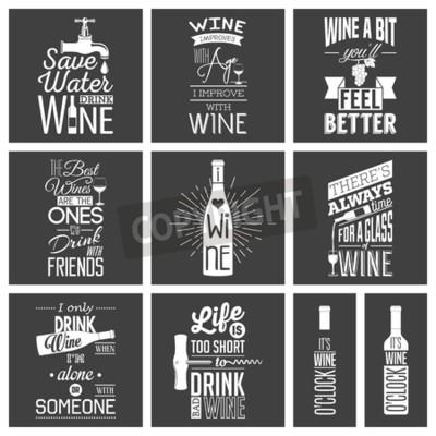 Fototapeta Sada vintage vína typografických uvozovek.