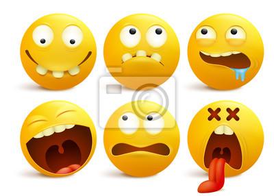 Sada Zlutych Smajliku Tvari Emotikonu Kreslenych Postav Fototapeta