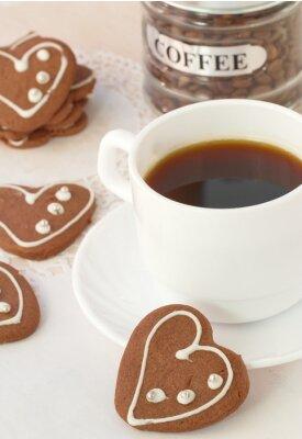 Fototapeta Šálek kávy a čokoládové sušenky