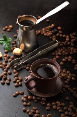 Fototapeta Šálek kávy a kávových zrn