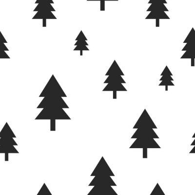 Fototapeta Scandinavian černý les strom na bílém vektoru bezešvé vzor. Jednoduchý a moderní design pro textilní tkaniny, papíru, zábal výtisků.