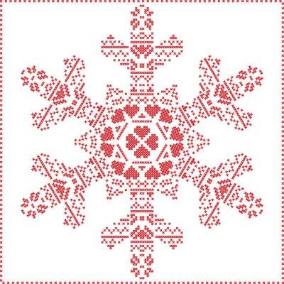 Fototapeta Scandinavian Nordic cross šití, pletení Vánoční vzorek ve městě vločka tvar s křížovým stehem rámem včetně, sníh, srdce, hvězdy, dekorativních prvků v červené barvě na bílém pozadí