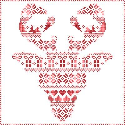 Fototapeta Scandinavian zimních steh pletení vánoční vzor v sob tvar hlavy frontální včetně sněhové vločky, srdíčka vánočními stromy vánoční dárky, sníh, hvězdy, ozdobnými ornamenty 2