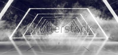 Fototapeta Sci Fi moderní futuristické tmavé prázdné kouř a mlha betonové kachlová cizí tunel koridor s bílou záře reflexní povrch elegantní pozadí 3d vykreslování ilustrace