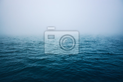 Fototapeta Sea ripple water with morning fog