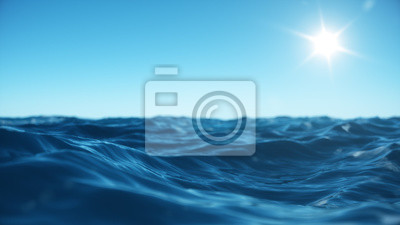 Fototapeta Sea wave low angle view. Ocean water background. View from below, view of a clear blue sky with the sun. Sea or ocean wave close-up view. Beautiful blue clean water. 3D rendering