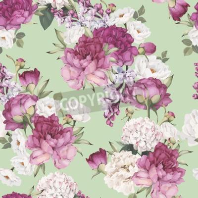 Fototapeta Seamless floral pattern with peonies. Vector