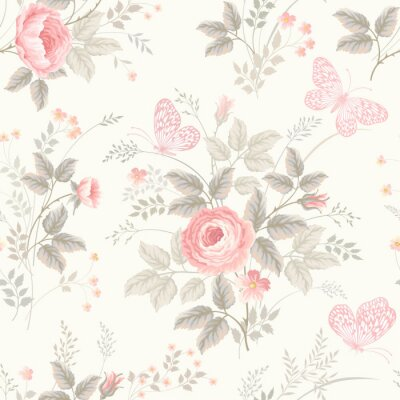 Fototapeta seamless floral pattern with roses in pastel colors