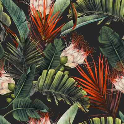 Fototapeta Seamless floral pattern with tropical flowers and leaves on dark background. Template design for textiles, interior, clothes, wallpaper. Watercolor illustration