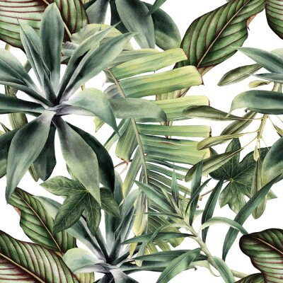 Fototapeta Seamless floral pattern with tropical piants, watercolor.