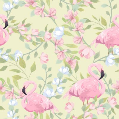 Fototapeta Seamless gentle pattern with pink flowers and flamingo
