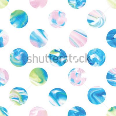 Fototapeta Seamless marble polka dot pattern. Abstract watercolor shapes in rainbow.
