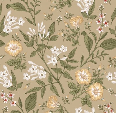 Fototapeta Seamless pattern. Beautiful fabric blooming realistic isolated flowers. Vintage background. Set Jasmine Petunia Croton wildflowers. Wallpaper baroque. Drawing engraving. Vector victorian illustration