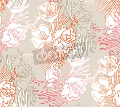 Fototapeta Seamless pattern of flowers. Floral illustration. Botanic atrwork.