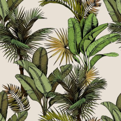 Fototapeta Seamless pattern with green tropical palm and banana leaves. Hand drawn vector illustration on beige background.
