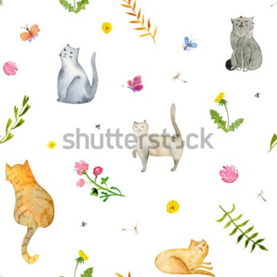 Fototapeta Seamless watercolor pattern with cats and flowers on white background. Stock illustration.