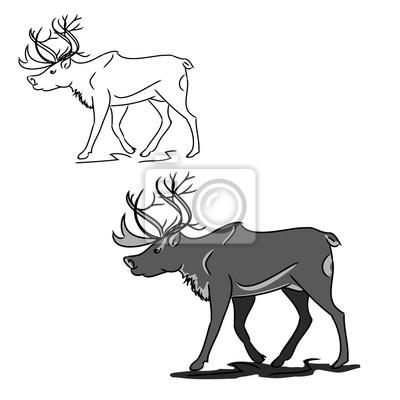 Šedá jelen (obrys) fototapeta • fototapety krásná fef0447aa4