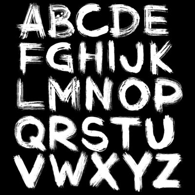Fototapeta Semi-dry flat brush hand-drawn white alphabet on black background.