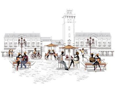 Fototapeta Série pouličních kaváren ve městě s lidmi, pití kávy