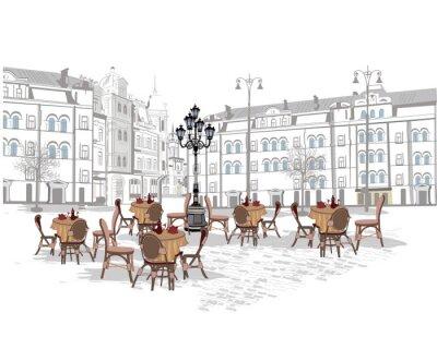 Fototapeta Série pozadí zdobené starými výhledem na město a pouličních kaváren. Ručně kreslenými vektorové ilustrace.