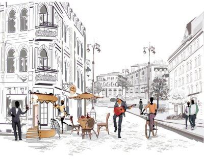 Fototapeta Série výhledem do ulice s lidmi ve starém městě