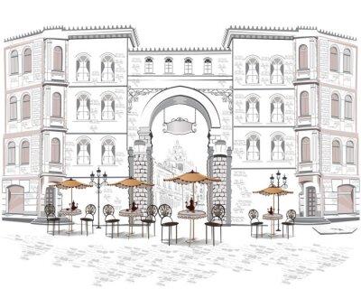 Fototapeta Série výhledem na ulici s kavárnami, ve starém městě