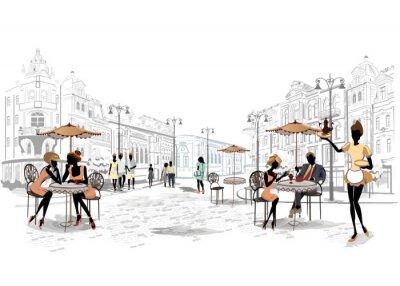 Fototapeta Série výhledem na ulici v historickém centru města s kavárnami