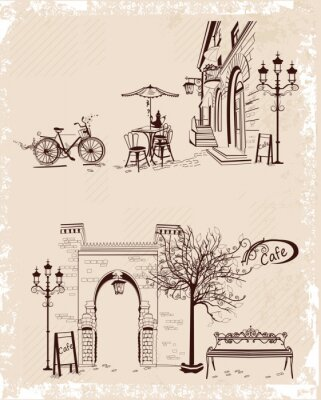 Fototapeta Series of backgrounds decorated with old town views and street cafes.