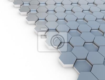 Šestiúhelník kovový vzor na bílém pozadí