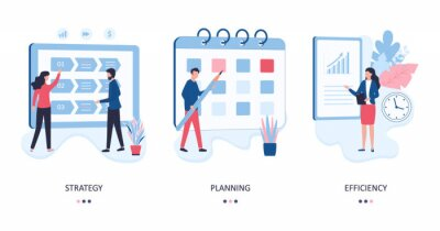 Fototapeta Set 3 concepts of strategy, planning and efficiency. Marketers develop a direction of activity, plan the work of company, evaluate the results. Flat vector illustration isolated on white background