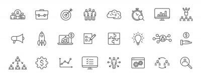 Fototapeta Set of 24 Management web icons in line style. Media, teamwork, business, planning, strategy, marketing. Vector illustration.