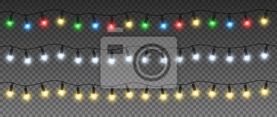 Fototapeta Set of Christmas garlands with colorful lamps: yellow, green, blue, red, white. Vector light effect. EPS 10